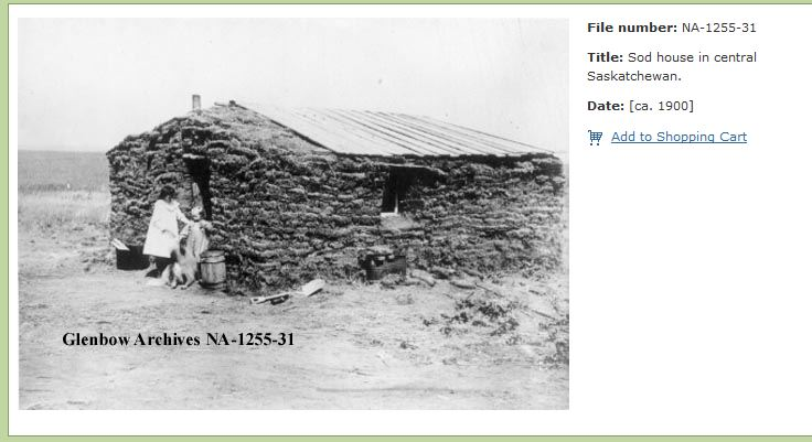 Sod house 1900 Glenbow archives